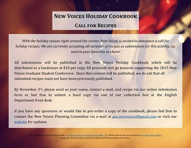 a PDF of the New Voices Holiday Cookbook call for recipes